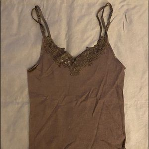NWT-Express Ribbed Tank Top with Top Embellishment